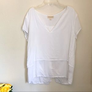 Anthropologie cloth & stone white v-neck top - S